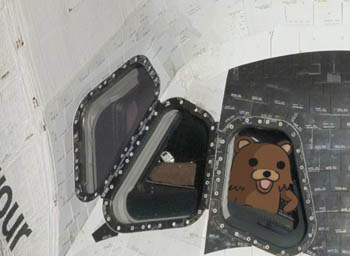 The stolen artwork of a bear in the shuttle cockpit, awaiting launch.